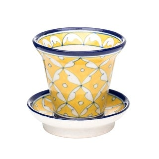 Handcrafted Pottery Planter - Yellow (India)