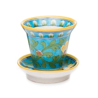 Handcrafted Pottery Planter - Turquoise (India)
