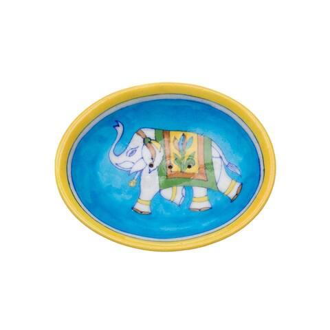 Blue Pottery Elephant Soap Dish - Turquoise