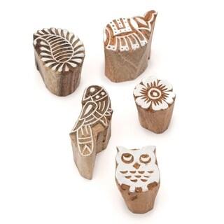 Handmade Set of Five Mini Print Blocks (India)