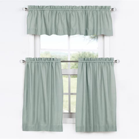 Exclusive Fabrics Solid Cotton Kitchen Tier Curtain & Valance Set (3pc)