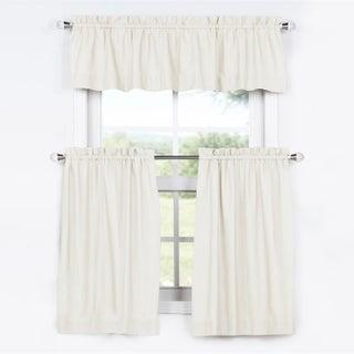 Exclusive Fabrics Solid Cotton Kitchen Tier Curtain & Valance Set (3pc) (Option: 29 x 36 - Fresh Popcorn)