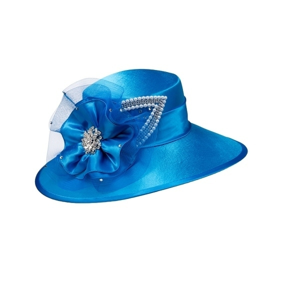5f2e2625192 Giovanna Signature Women  x27 s Satin Covered Hat with Mesh and Rhinestone  Trims