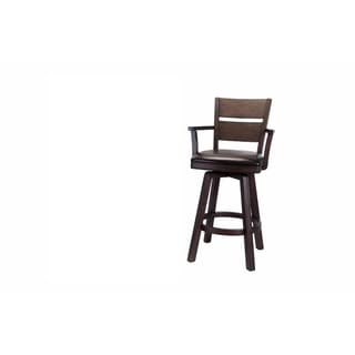 Whitaker Furniture Pompano Set of 2 Bar Stools with Arms, Black Oak
