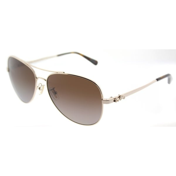 13ddbe9020 Coach Aviator HC 7074 9310T5 Womens Light Gold Frame Brown Gradient  Polarized Lens Sunglasses