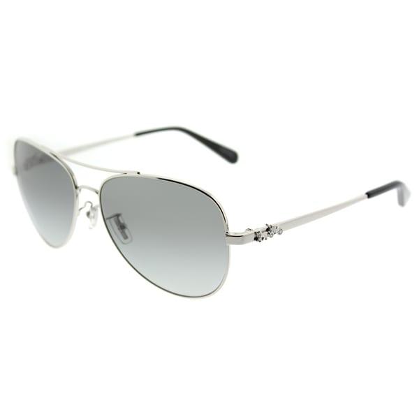 8b9bcd45e79ad Coach Aviator HC 7074 900111 Womens Silver Frame Dark Grey Gradient Lens  Sunglasses