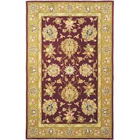 Safavieh Handmade Traditions Tabriz Red/ Gold Wool and Silk Rug - 5' x 8'