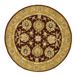 Safavieh Handmade Traditions Tabriz Red/ Gold Wool and Silk Rug (6' Round)