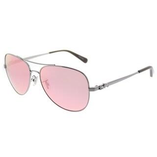 Coach Aviator HC 7074 90041T Womens Gunmetal Frame Pink Mirror Lens Sunglasses