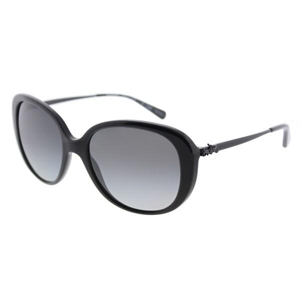 984b198a4c Coach Oval HC 8215 5482T3 Womens Black Frame Grey Gradient Polarized Lens  Sunglasses