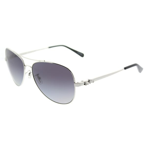 7ca85f63cf6 Coach Aviator HC 7074 90018J Womens Silver Frame Purple Grey Gradient  Polarized Lens Sunglasses
