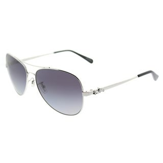Coach Aviator HC 7074 90018J Womens Silver Frame Purple Grey Gradient Polarized Lens Sunglasses
