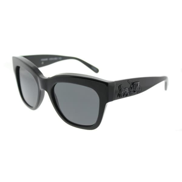 3e5e3ff60d Coach Square HC 8213 500287 Womens Black Frame Dark Grey Lens Sunglasses