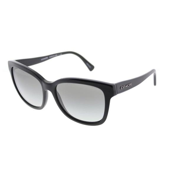 37b467f2f6 Coach Square HC 8219 500211 Womens Black Frame Grey Gradient Lens Sunglasses