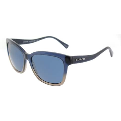 Coach Square HC 8219 547480 Womens Denim Taupe Glitter Gradient Frame Dark Blue Lens Sunglasses