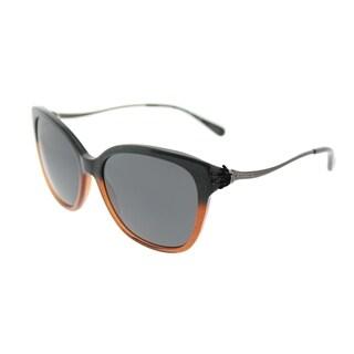 Coach Square HC 8218 547587 Womens Black Amber Glitter Gradient Frame Dark Grey Lens Sunglasses