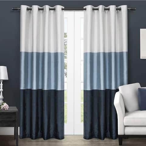"""ATI Home Chateau Striped Faux Silk Grommet Top Curtain Panel (Set of 2) 96"""" in Indigo (As Is Item)"""