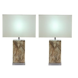 Urban Designs Simon Rectangular Ceramic Table Lamp (Set of 2)
