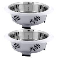 Iconic Pet Color Splash Designer Oval Fusion Bowl - Medium - Set of 2