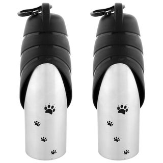 Iconic Pet Handy Stainless Steel Pet Travel Water Bottle With Drinking Bowl - Set of 2