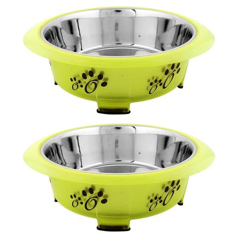 Iconic Pet Color Splash Designer Oval Fusion Bowl in Gray- Small - Set of 2