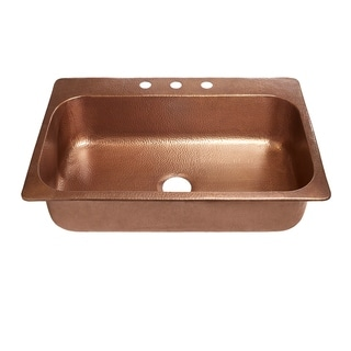 "Sinkology 33"" Angelico Drop-In Copper Sink"