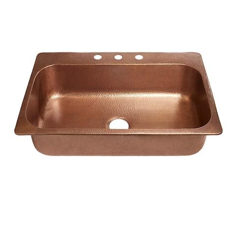 """Sinkology 33"""" Angelico Drop-In Copper Sink"""