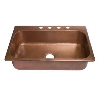 "Sinkology 33"" Angelico Drop-In Copper Sink - 4 Faucet Holes"