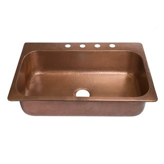 "Sinkology 33"" Angelico Drop-In Copper Sink - 4 Faucet Holes"