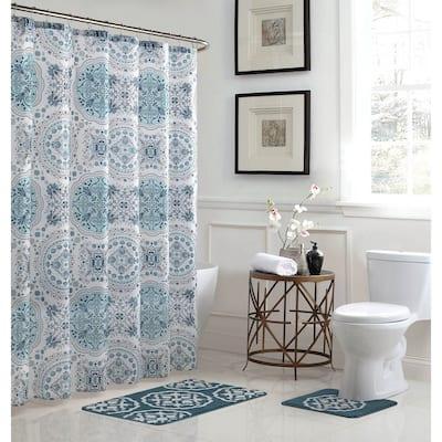 Caroline Geometric 15-Piece Bathroom Shower Set - Blue/White