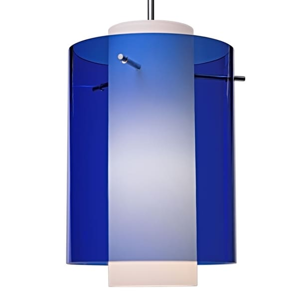 Bruck Lighting Rome Matte Chrome Pendant with Blue and White Shade