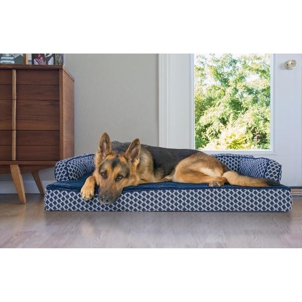 Shop Furhaven Plush Decor Comfy Couch Memory Top Sofa Pet Bed On