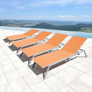 Corvus Torino Sling Fabric Reclining Outdoor Chaise Lounges (Set of 4) (Option: Beige)