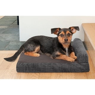 FurHaven Quilted Fleece & Print Suede Memory Top Chaise Lounge Pet Bed