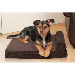 FurHaven Faux Fleece & Corduroy Memory Top Chaise Lounge Pet Bed