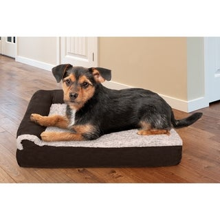 FurHaven Two-Tone Faux Fur & Suede Memory Top Deluxe Chaise Lounge Pet Bed
