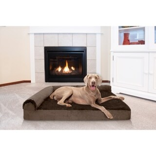 FurHaven Plush & Velvet Memory Top Deluxe Chaise Lounge Pet Bed (4 options available)