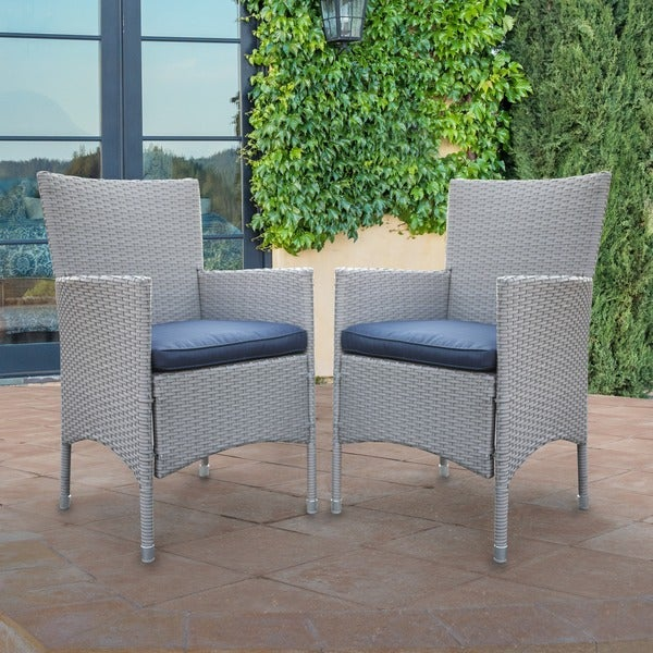 Corvus Melfi Outdoor Grey Wicker Dining Chairs With