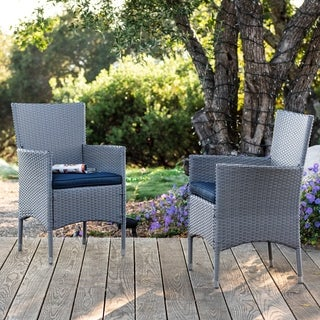 Corvus Melfi Outdoor Grey Wicker Dining Chairs with Cushions (Set of 2)