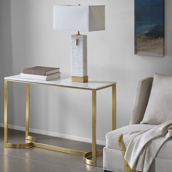 Shop Madison Park Antonio Gold Metal And White Marble
