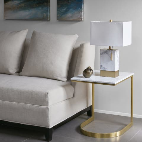 Madison Park Antonio Marble/ Gold End Table