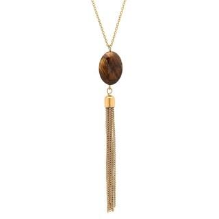 Piatella Ladies Gold Tone Necklace with Tiger Eye and Tassel