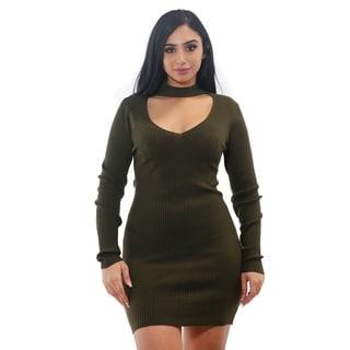 Special One Ladies bodycon Vneck choker rib longsleeve sweater dress