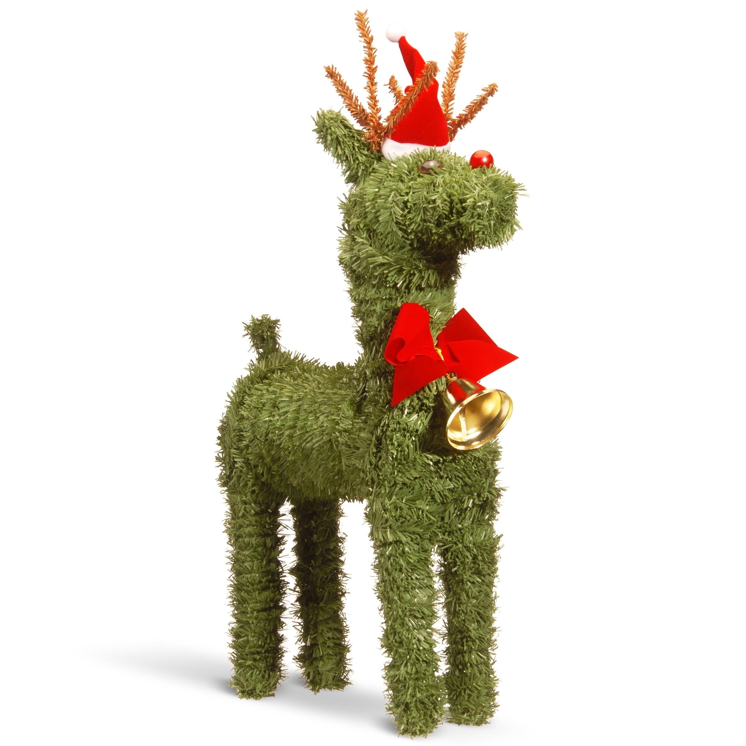 "National Tree 16"" Evergreen Reindeer, Green (Plastic)"