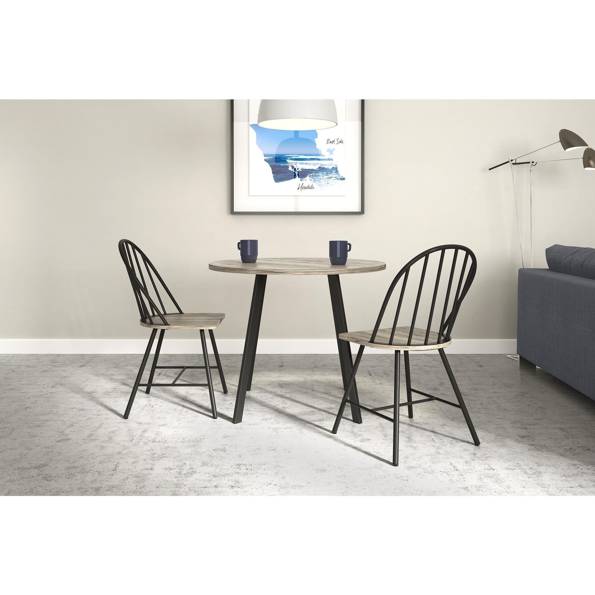 Novogratz Leo Black Metal Farmhouse Dining Chair With Grey Wood Seat Overstock 17760019