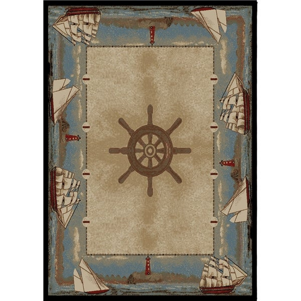 Shop Coastal Sailboat Key West Beach Blue Area Rug 5 3