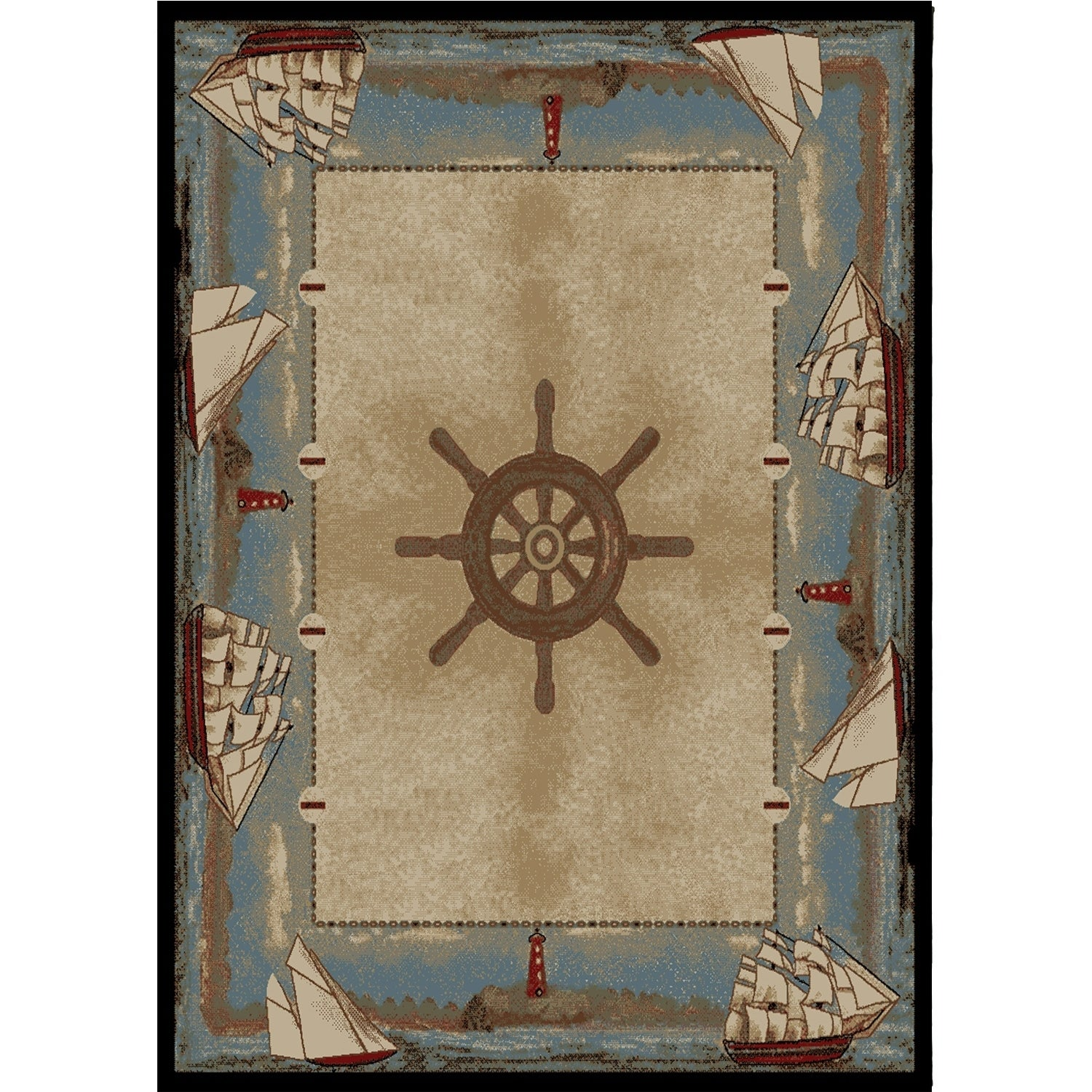 Coastal Sailboat Key West Beach Blue Area Rug (5'3 x 7'3)...