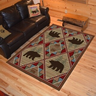Rustic Lodge Bear Creek Multi Area Rug (5'3 x 7'3)