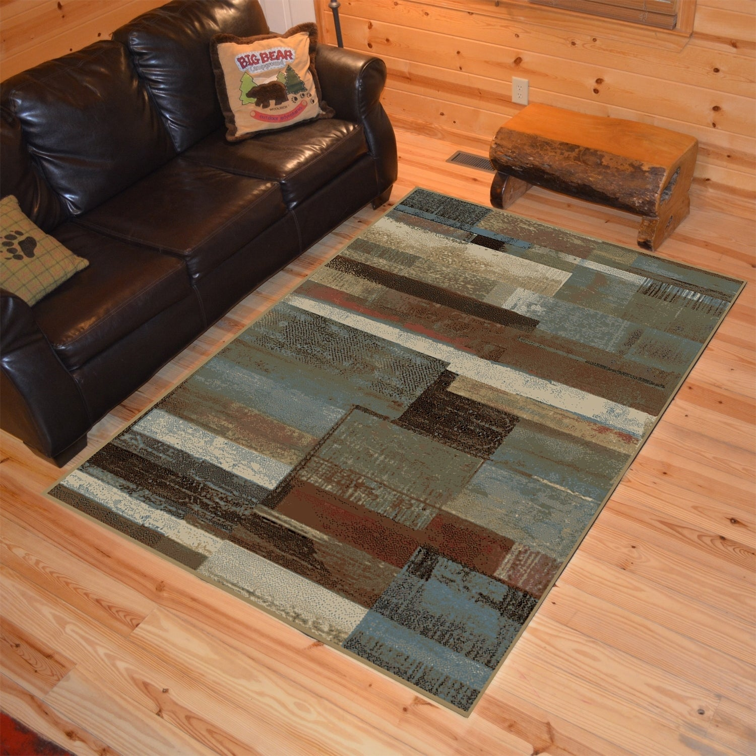Rustic Lodge Plank Multi Area Rug