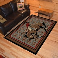 "Western Rodeo Bucking Horse Multi Area Rug - 5'3"" x 7'3"""